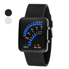 Fashion Men Watches Led Sports Dot Matrix Blue Electronic Silicone montre femme