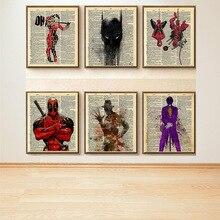 Marvel cartel de película Retro Vintage Kraft estilo decoración del hogar colgando imagen Lienzo sin marco pintura al óleo Spiderman Deadpool Batman