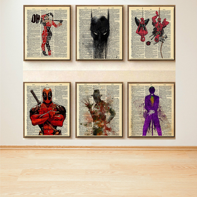 Marvel Movie Poster Retro Vintage Kraft Style Home Decor Hanging Picture Frameless Canvas Oil Painting Spiderman Deadpool Batman image