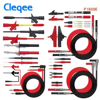 Cleqee P1600E 15 In 1 Banana Plug Multimeter Cables Test Leads Kit Insulation Piercing Needle Automotive Probe Set IC Test Hook