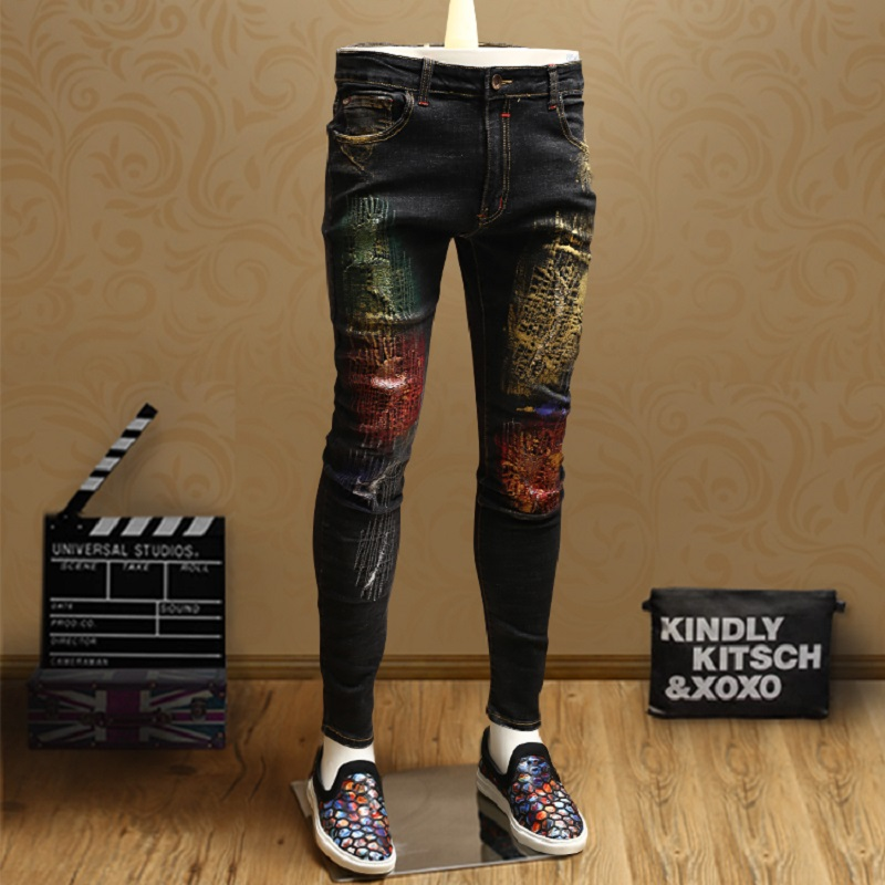 Fashion Color Pattern Designer Jeans Men Skinny Ripped Personality Streetwear Blue Pencil Jeans Pants Large Size 36
