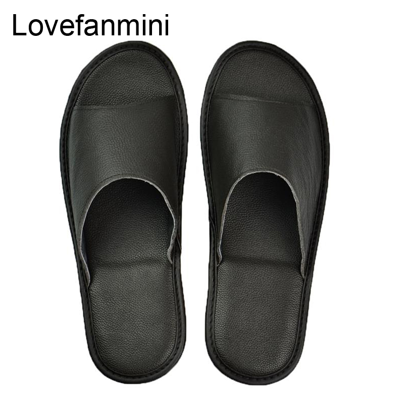 Genuine Cow Leather Slippers Couple Indoor Non-slip Men Women Home Fashion Casual Single Shoes PVC Soft Soles Spring Summer 504