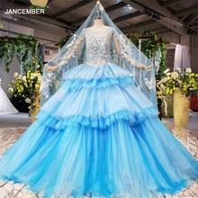 HTL842 blauw moslim trouwjurken met bruidssluier o hals lange mouw groen trouwjurk lace kleur jurk vestido de noiva azul