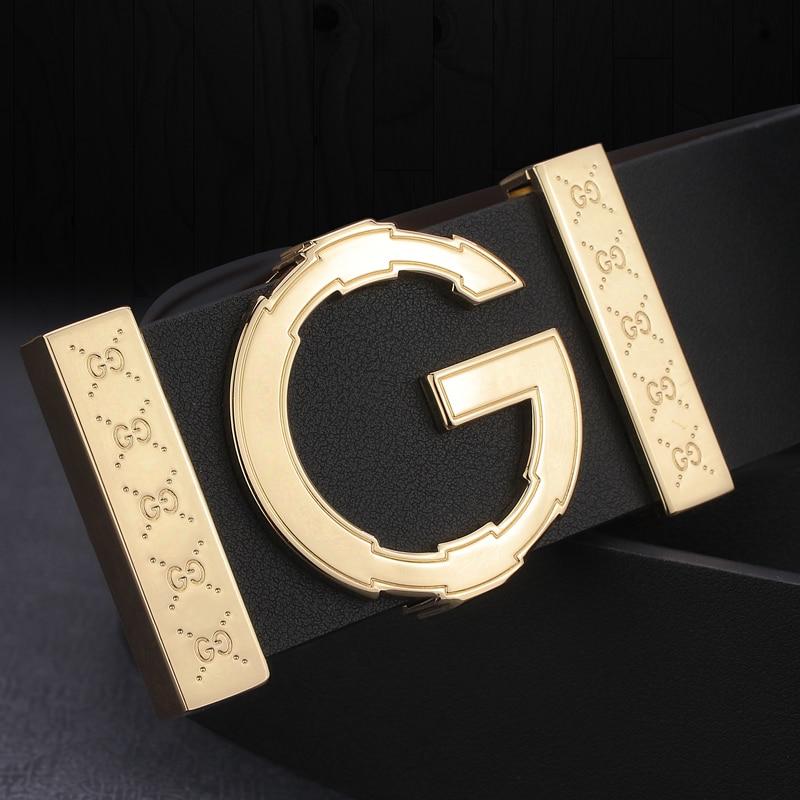 Ремень с пряжкой-буквой G мужской, Гладкий кожаный дизайнерский пояс, модный роскошный брендовый Повседневный Пояс из воловьей кожи