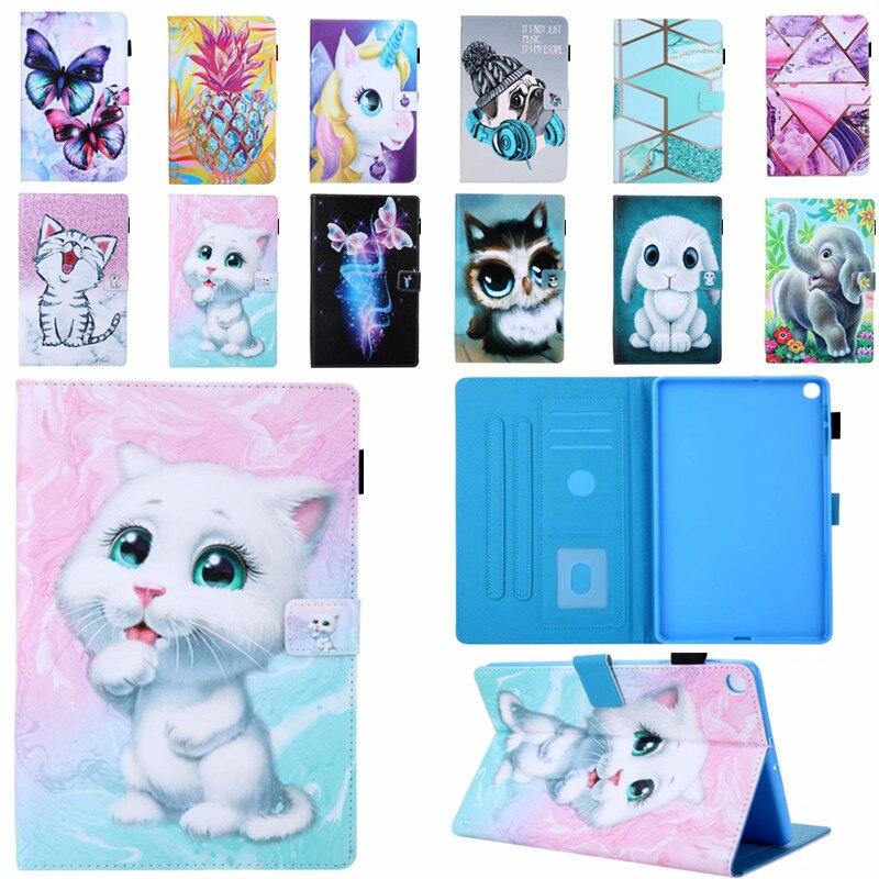 С милым рисунком кота, кролика флип раскладный кожаный чехол для Samsung Galaxy Tab A 8,0 2019 SM-T290 T295 T297 прикрепляющийся к подставка чехол для планшета