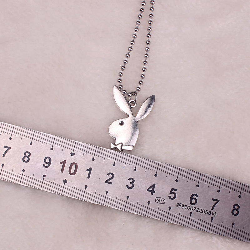 2020 new Women Fashion Cute Long Ear Bunny Pendant Necklaces Charm Playboy Necklace Party Jewelry Collier Femme(China)