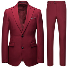 Men Suits 2020 New Boutique Business Casual Suit Two Piece Set  Single Breasted Cloth Slimming Mens with Pants