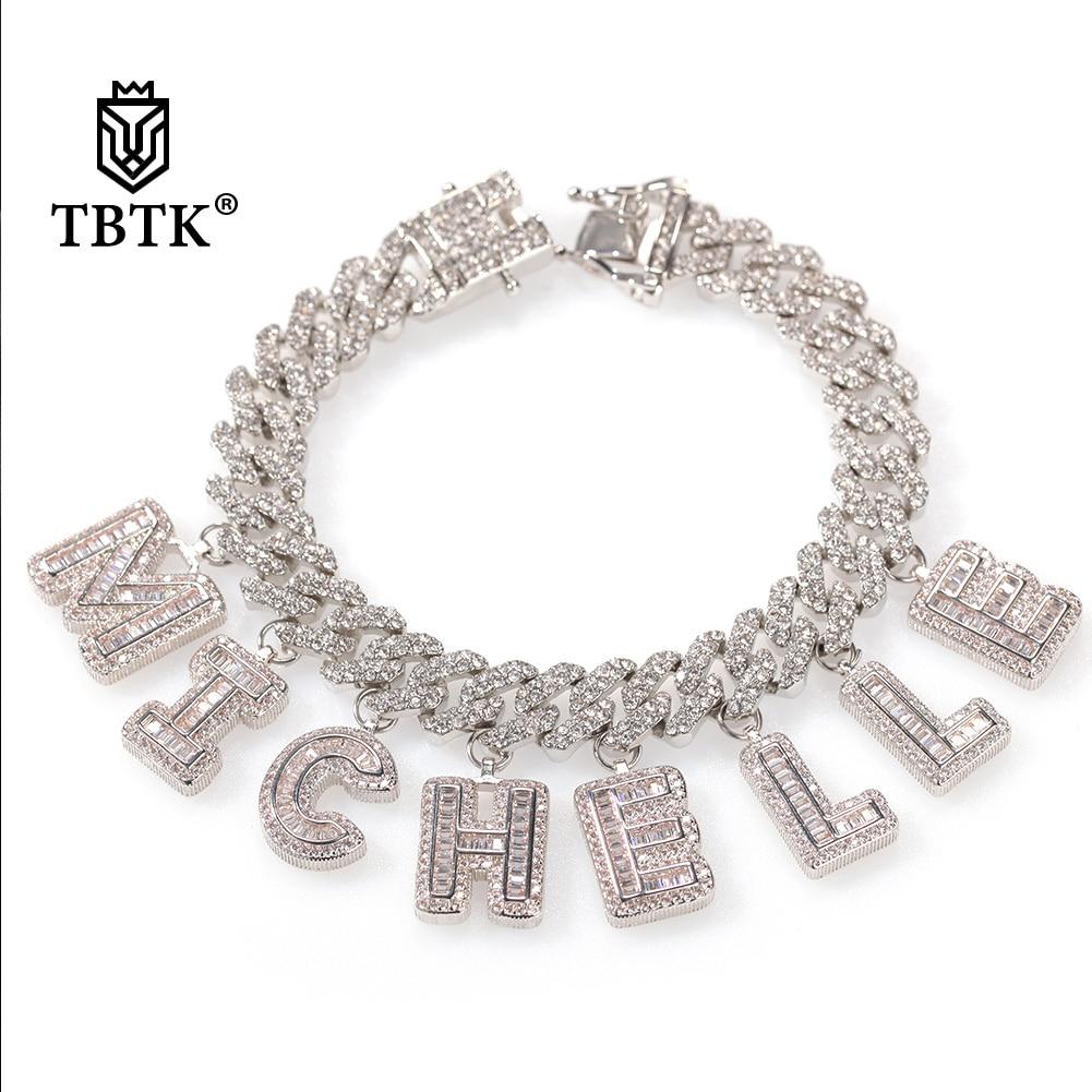 TBTK Hiphop 12mm S-Link Miami Kubanischen Halskette DIY Baguette Brief Anhänger Armband Schmuck Großhandel Persönlichen Stil