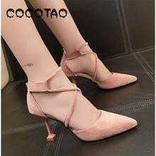 High-heeled Shoes Women's Fine Spring And Summer New Sexy Pointed Cat Sandals Students Korean Version Of Joker Cross Strap 28 free shipping stylish and elegant high heeled shoes of fine silk surface shallow mouth pointed diamond pearl word strap sandals