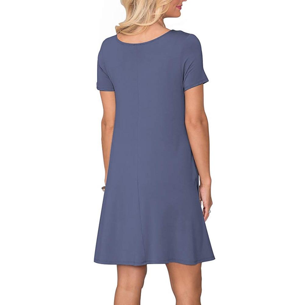 Women's Summer Casual T Shirt Dresses Short Sleeve Swing Dress Pockets 3