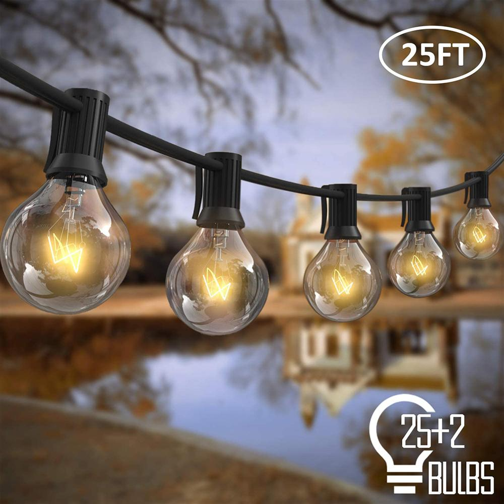NICLUX Outdoor String Lights Bulb Fairy String Light Christmas Outdoor Lighting G40 25 LED Street Garland Wedding Backyard Decor