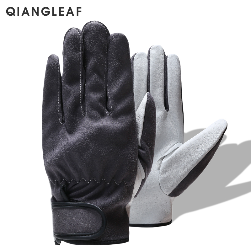 QIANGLEAF Brand Men's High Quality Leather Work Safety Gloves Mechanic Working Gloves Women's Gardening Protective Glove 2720