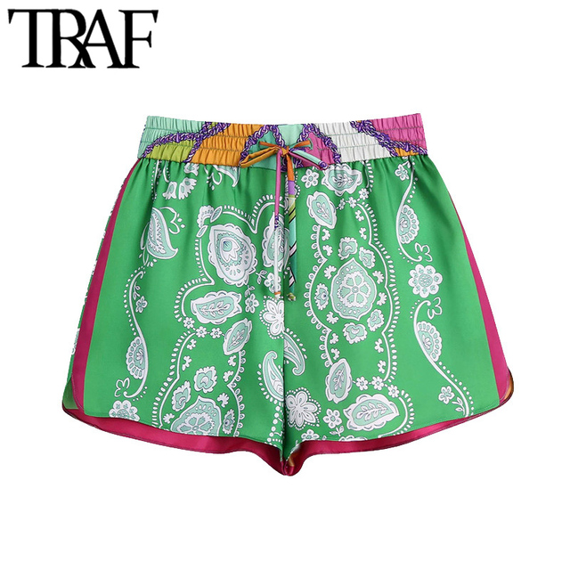 TRAF Women Chic Fashion Patchwork Printed Shorts Vintage High Elastic Waist With Drawstring Female Short Pants Mujer 1