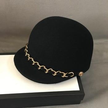 цены Classical Soft Warm Wool Cap Felt Women Winter Hat Fashion Gold Chain Trim Newsboy Style Visor Beret Hat Black Cabbie Hat adjust
