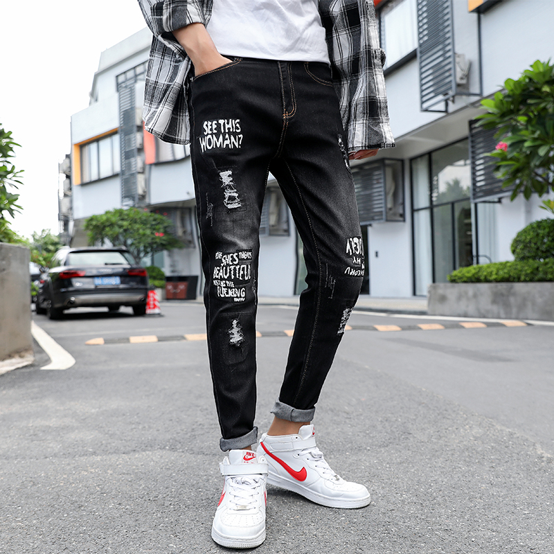 Mens Solid Color Jeans 2020 New Fashion Slim Pencil Pants Sexy Casual Hole Ripped Design Streetwear