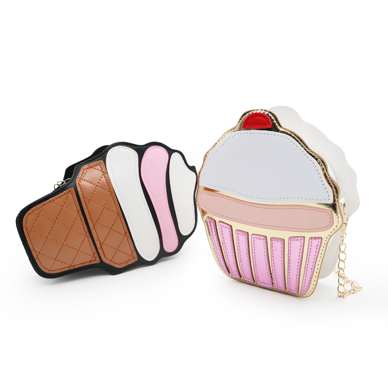 2019 Cute Ice Cream Cupcake Women Bag PU Leather Small Chain Clutch Girl Messenger Crossbody Shoulder Bags Female Purse Handbags