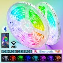 Wifi led luzes de tira bluetooth usb iluminação de fundo com adaptador 2v rgb fita led tv desktop ir controlador adaptador