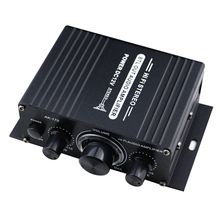 DC12V Mini Stereo Audio FM Radio Car Home Stable Aluminum Alloy Auto Music Receiver LED Display Power Amplifier Black