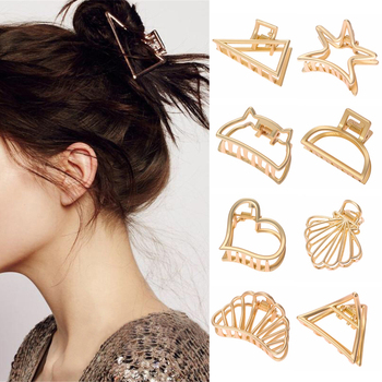 11Styles Geometric Hair Claw For Women Girls Clamps Hair Crab Metal Gold Hair Clip Claw Accessories Hairpins Ornament 2019