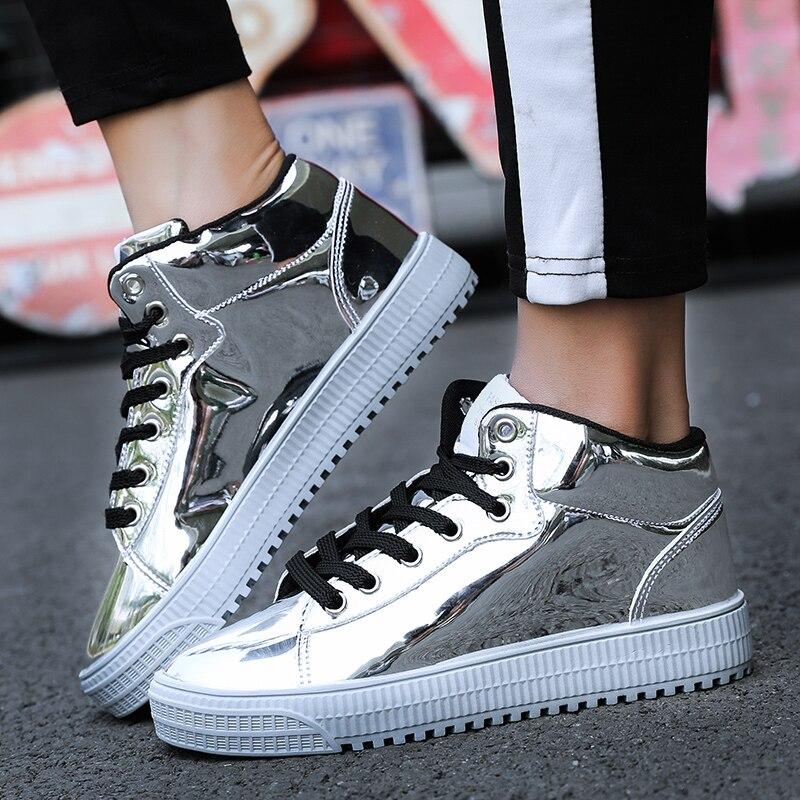 QWEDF2019 femmes chaussures vulcanisées baskets dames à lacets décontracté Basket chaussures marche Bling miroir en cuir plat argent chaussure SE-92