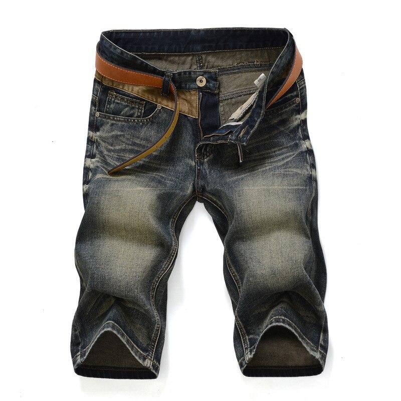 2019 Summer Elasticity Knee-length Denim Shorts Men's Slim Fit Retro With Holes 5 Points Jeans Fashion