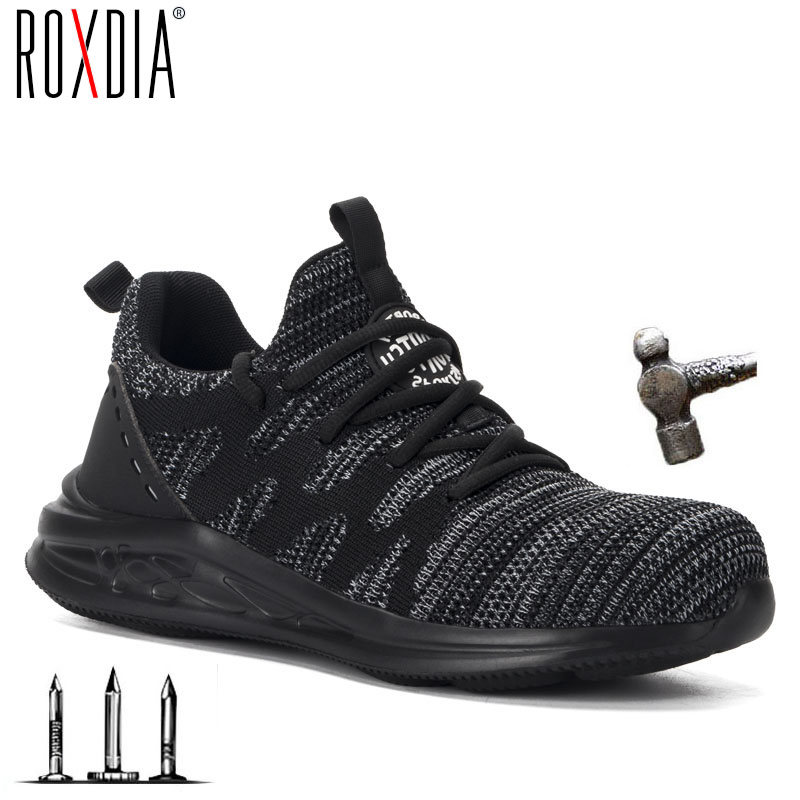 ROXDIA Brand Men Safety Shoes With Steel Toe Cap Breathable Women Work Boots Sneakers Casual Male Shoes Plus Size 36-48 RXM171