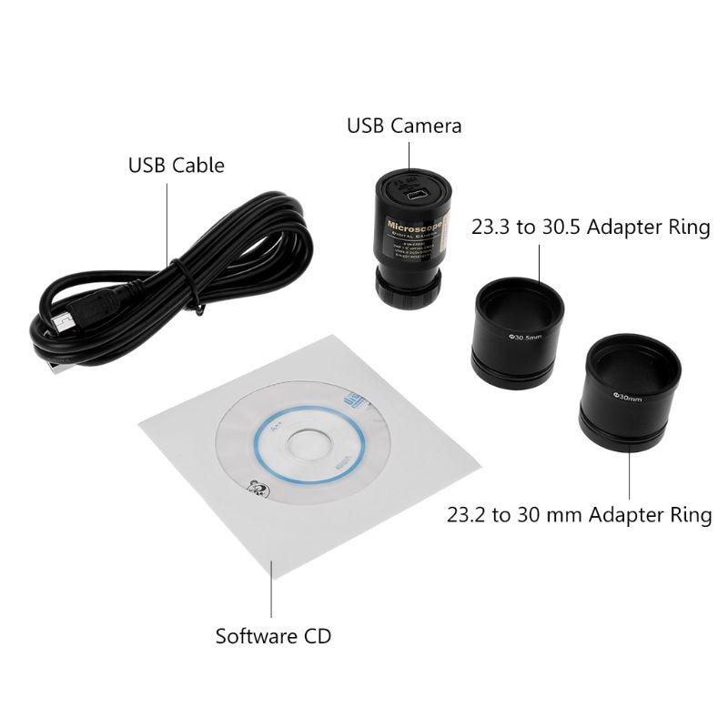 Купить с кэшбэком HD CMOS 2.0MP USB Electronic Eyepiece Microscope Camera Mounting Size 23.2mm with Ring Adapters 30mm 30.5mm