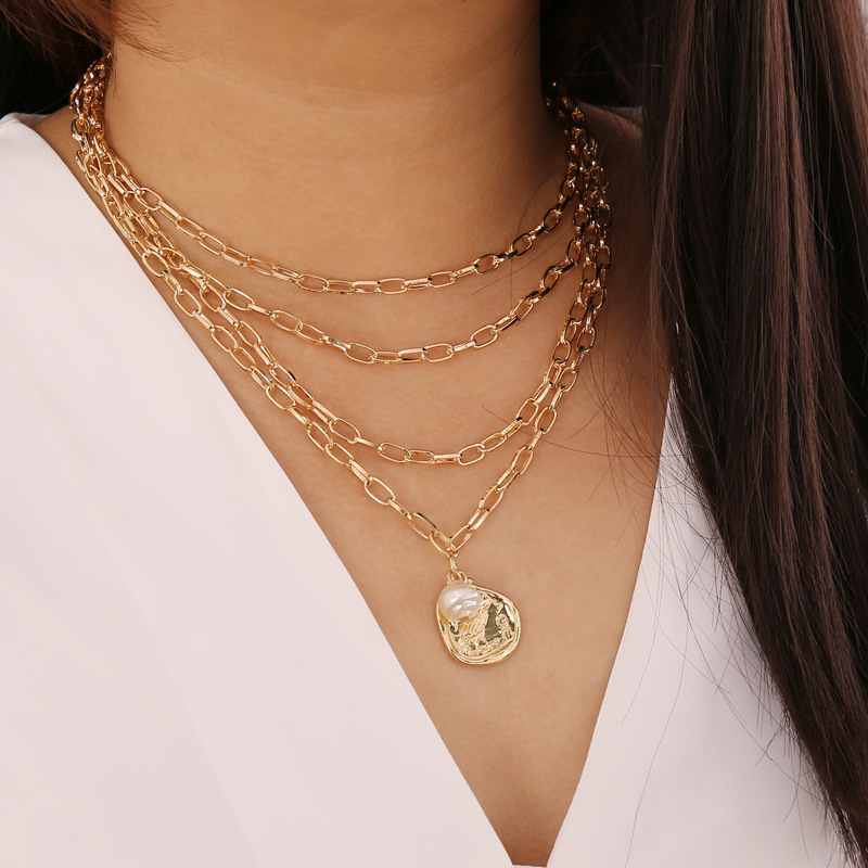 Irregular Imitation Pearl Coin Pendants Necklaces for Women Gold Color Multilayer Clavicle Chain Female 2020 Fashion Jewelry New