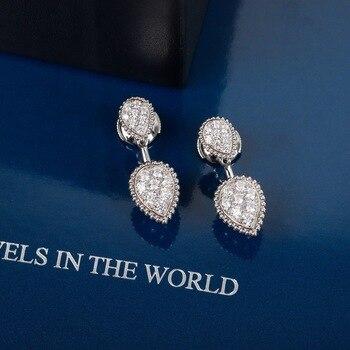 Hot Brand Pure 925 Sterling Silver Earrings Gold Color Water Drop Full Diamond Stud Earrings White Gold Two Wear Design Fine