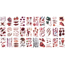 1 Set Of 30 Halloween Scars Stickers Waterproof Temporary Tattoo 3D Realistic Bloody Design 9.7X5.7 Cm