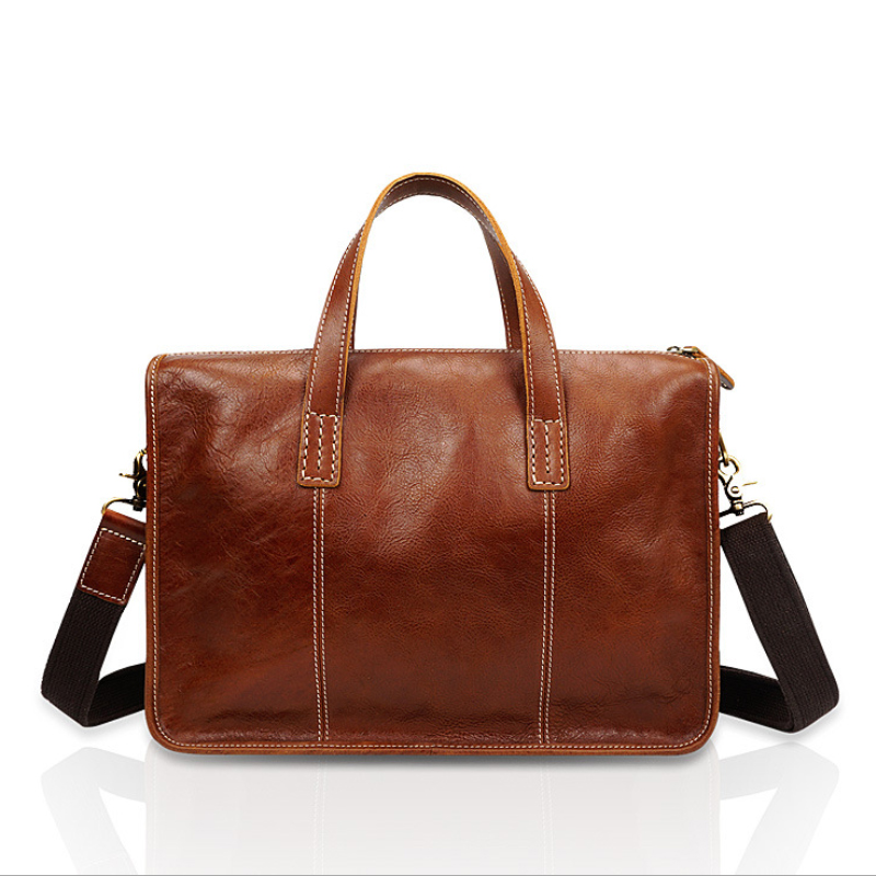 Luufan Genuine Leather Men Briefcase Bag Doctor Layer Handbags Real Cowskin Work Totes Business Briefcases Men Male Leather Bags