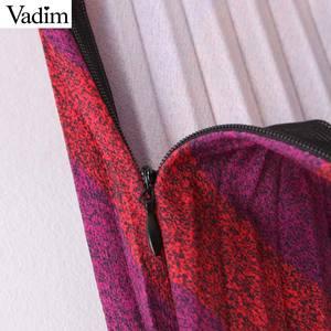 Image 5 - Vadim נשים אופנה פסים קפלים חצאית צד רוכסן Europen סגנון midi חצאית נקבה מקרית אמצע עגל חצאיות BA885