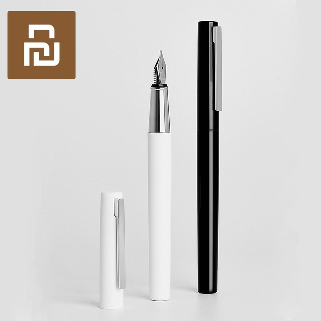 Caneta fonte youpin kaco branca, caixa de metal nas cores preta e branca para armazenamento de 0.3mm caneta para escrita, caneta de assinatura
