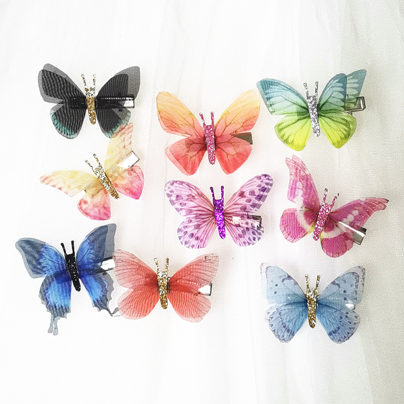 80pcs Double Layers Glitter Body Tulle Butterfly Hair Clip Women Girls Hairpin Gauze Butterfly Hair Accessories Hair Ornaments