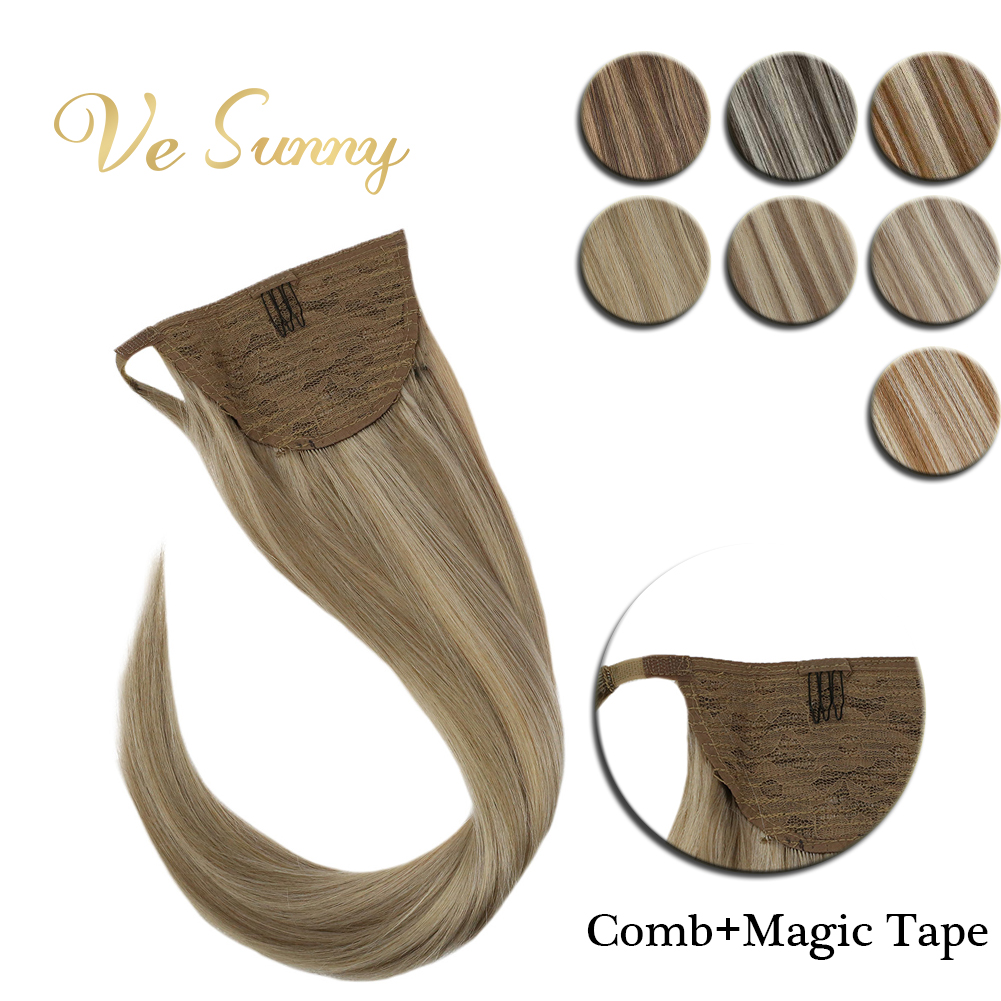 VeSunny Ponytail Extensions Wrap Around Magic Tape With Comb 100% Human Hair Highlights Color 14inch - 22inch