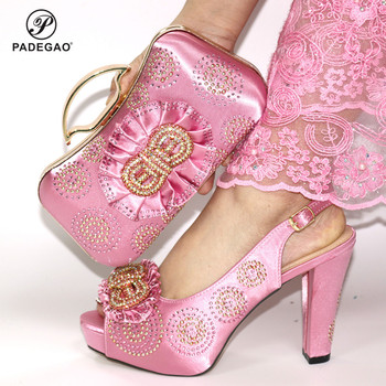 Fashion Rhinestone Woman Shoes And Matching Bag Set Classics Style Pumps Shoes And Bag Set For Party in Pink Color