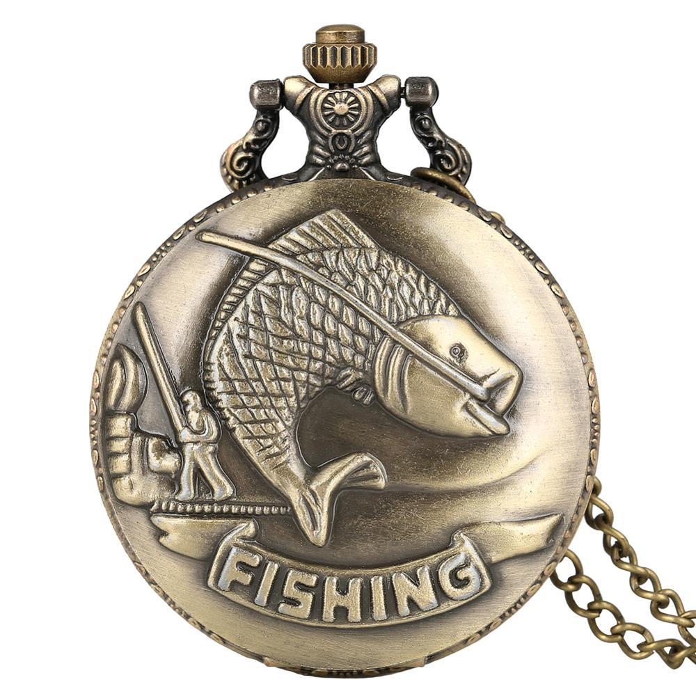 Bronze Pocket Watches Fishing Case Quartz Vintage Pendant Clock With Necklace Fisherman Chain For Men Women Reloj Pesca Hombre