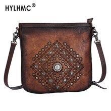 Literary Leather Bag Women Shoulder Bag