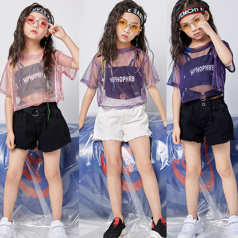 Jazz Costume Hip Hop Street Dance Performance Show Children's Day Streetwear Costumes Girls Short Sleeve Shorts Clothes DNV11473