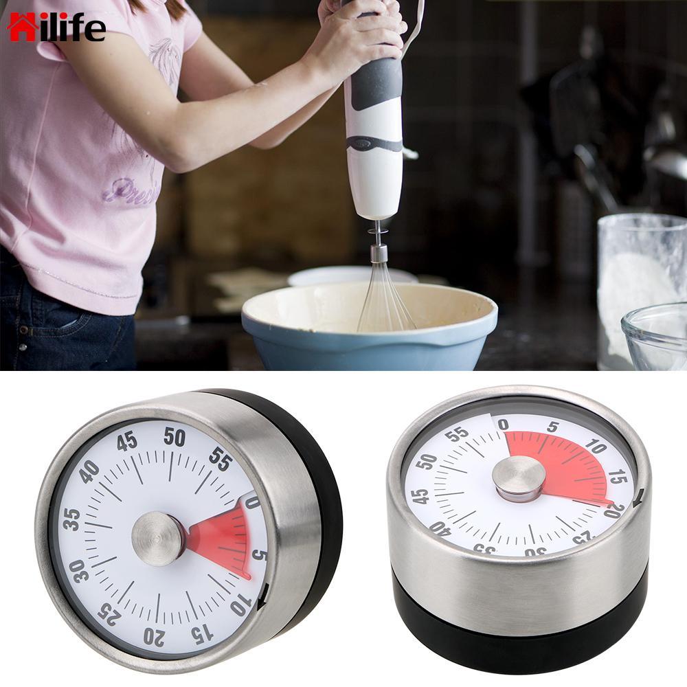 HILIFE Time Reminder 60 Minutes Kitchen Timer Countdown Alarm Reminder Magnet Round Shape  Mechanical Cooking  Timer Novelty