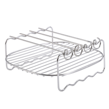 Double-deck Baking Tray Air Fryer Skewers Stainless Steel Holder Home Barbecue Replacement BBQ Rack air fryer electric fryer accessory non stick baking dish roasting tin tray for philips hd9232 hd9233 hd9220 hd9627 hd9621