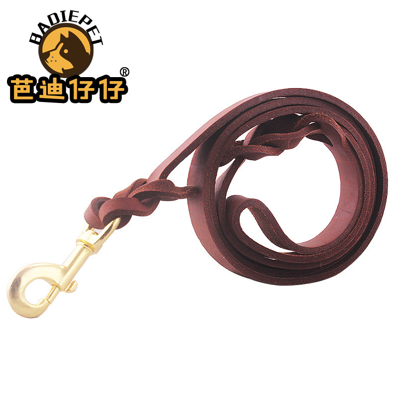 Cowhide Dog Chain Dog Horse Hand Holding Rope A Border Dog German Shepherd Cowhide Traction Belt Unscalable Dog Fur Fine Dog Cha