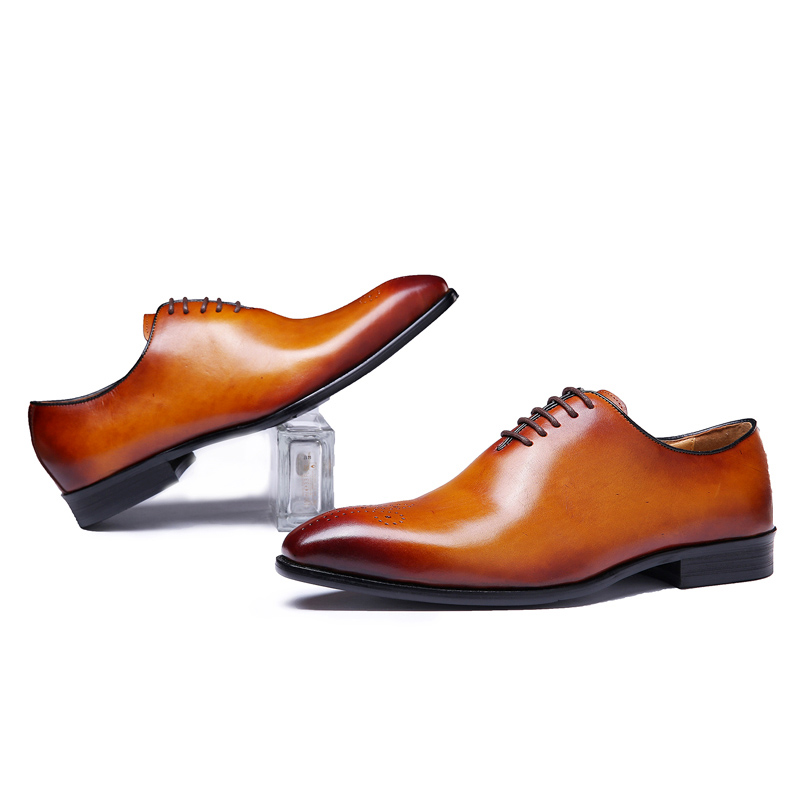 Zapatos de vestir marrones para fiesta de boda con cordones Oxford de corte entero para hombres de cuero genuino clásico de marca de la marca tallado-in Zapatos formales from zapatos    2