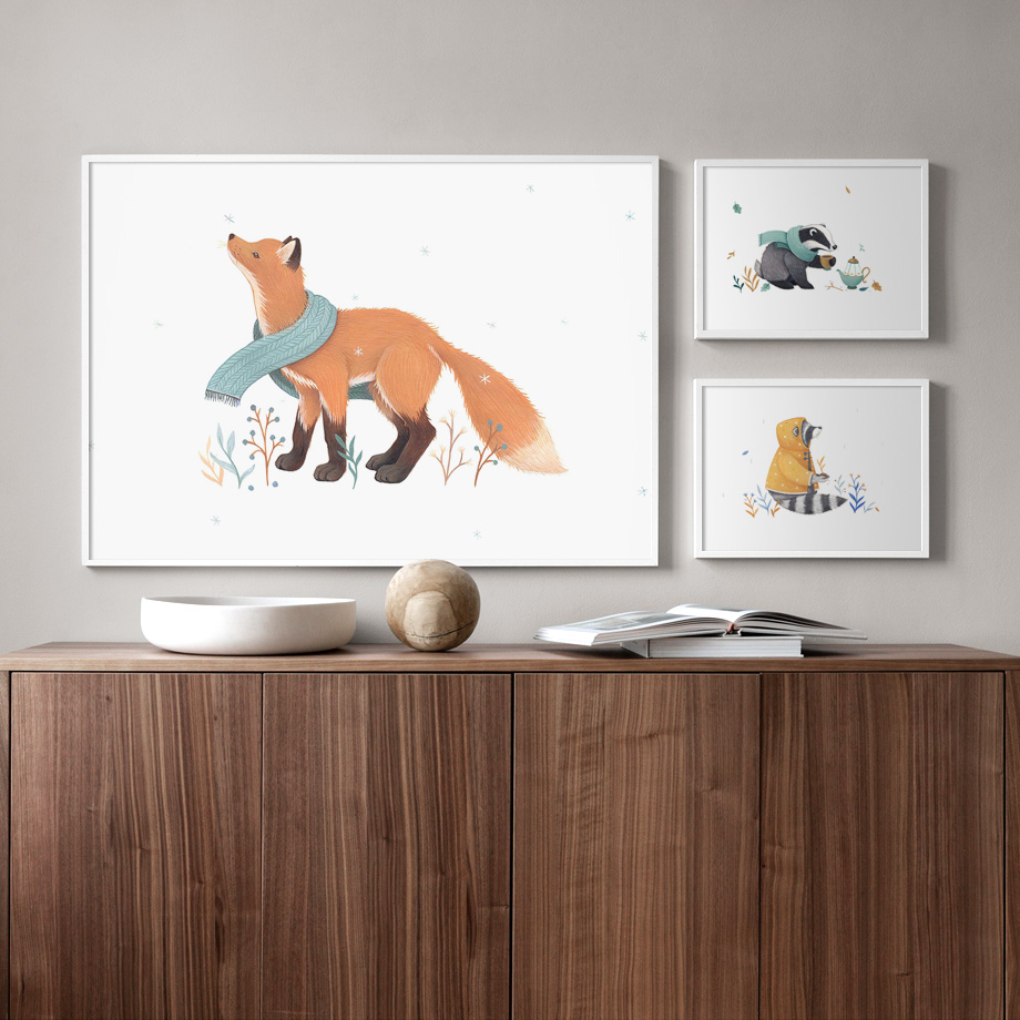 Polar Bear Fox Rabbit Squirrel Mouse Plant Wall Art Canvas Painting Nordic Posters And Prints Pictures Baby Kids Room Decor