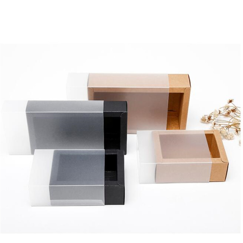 10pcs Kraft Paper Box With Frosted Transparent Cover Drawer Style Cardboard Box For Doll Packaging Jewelry Gift Box
