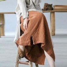 Linen Skirt Elastic-Waist Comfortable Autumn Plus-Size Women All-Match Johnature 5-Colors