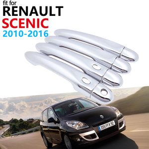 Door Handle Car Accessories for Renault Grand Scenic III XMOD 2010~2016 Luxuriou Chrome Exterior Handle Cover Trim Set Stickers(China)