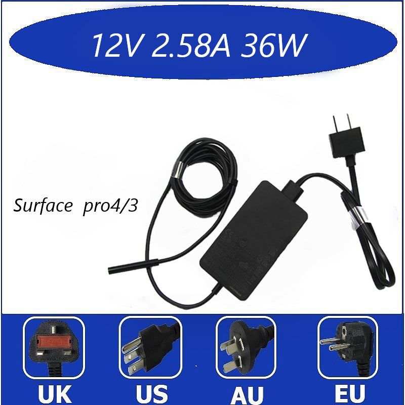 Para a superfície pro3 pro4 carregador cabo 12v2.58a adaptador de energia portátil