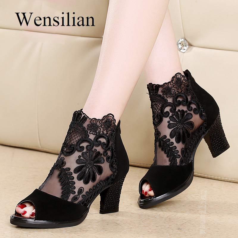 Summer Peep Toe Sandals Sexy Heels Ladies Pumps Square Heels Sweet Lace Wedding Party Shoes Black Sandalia De Festa Plus Size 43