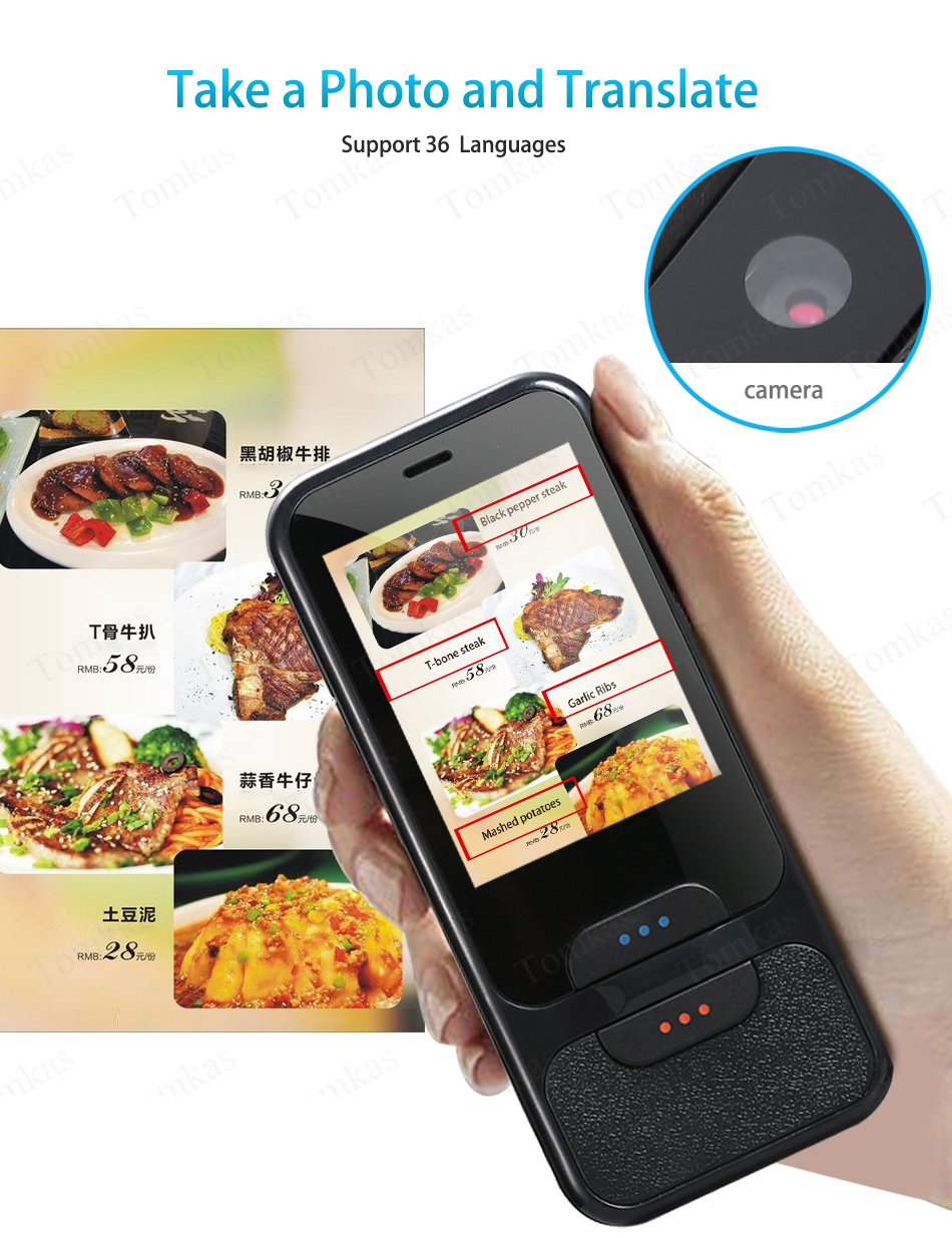 TOMKAS AI Smart Pocket Language Translator with 2.4 Inch Touch Screen and  WIFI for Multi language Voice and Photo Translation in Real Time 11